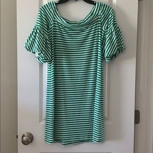 Green Stripped off-the-shoulder Dress